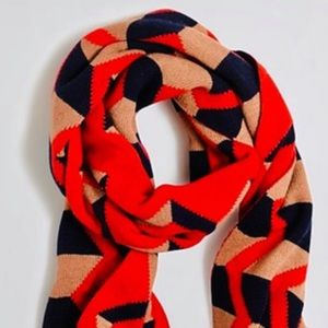 J. CREW Zig zag scarf red navy THICK wool blend 84